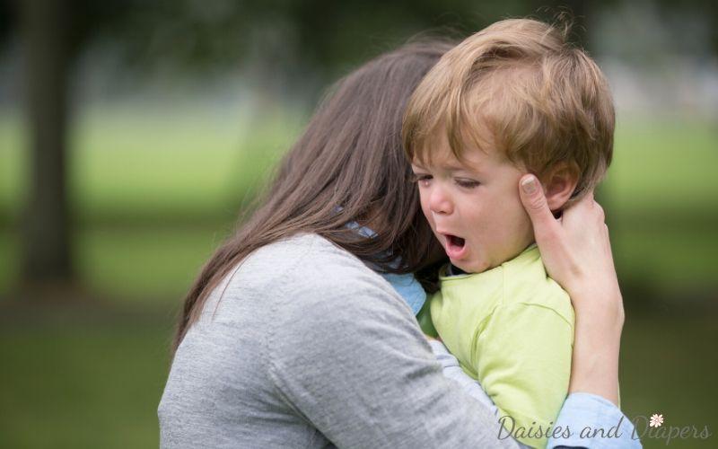tame toddler tantrum with a hug