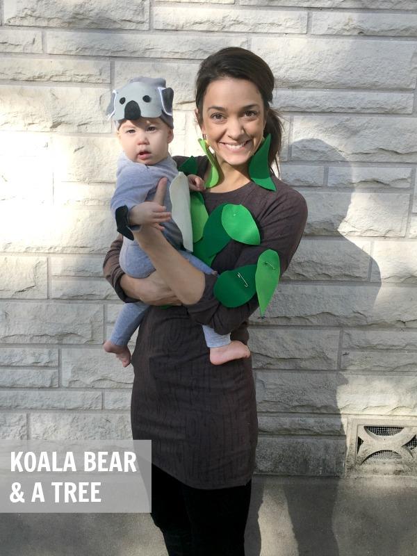 mom dressed as a tree and baby dressed as a Koala