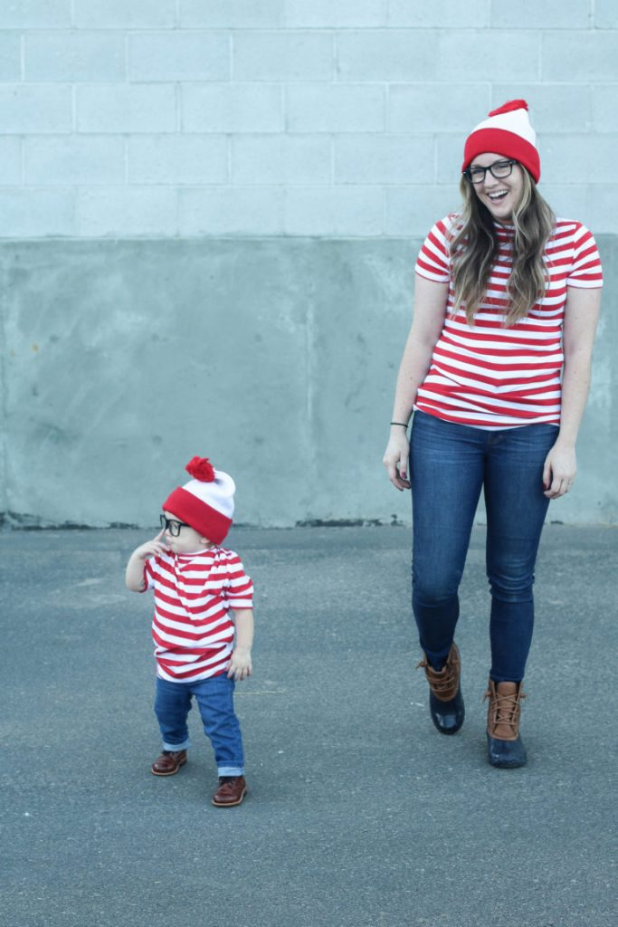 Mom and her son dressed in matching Where's Waldo costumes