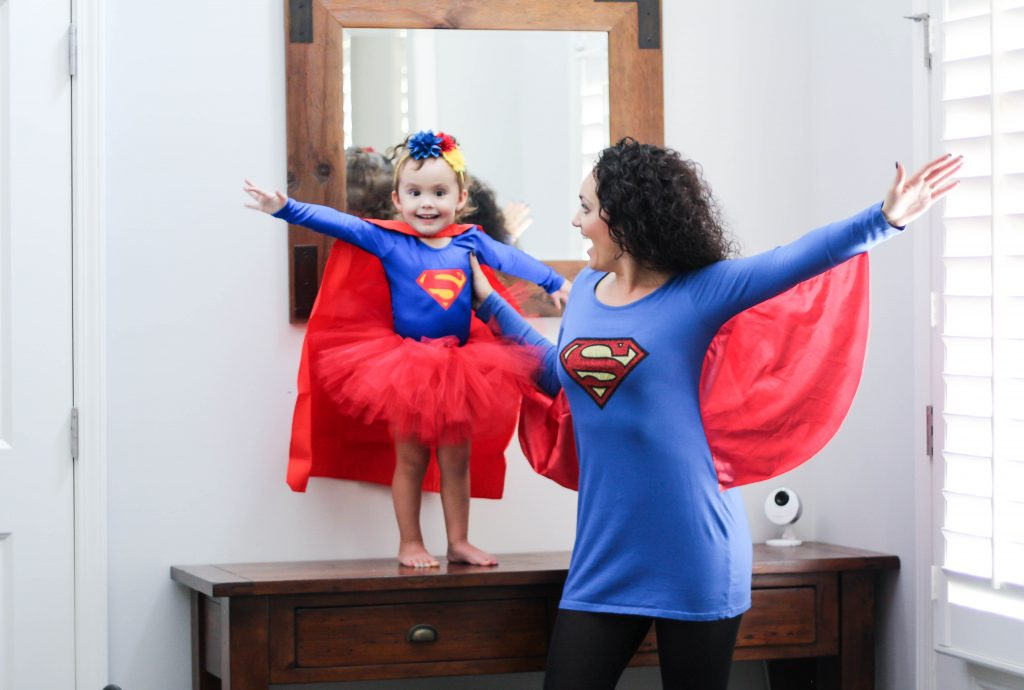 matching mom and baby Supergirl costumes