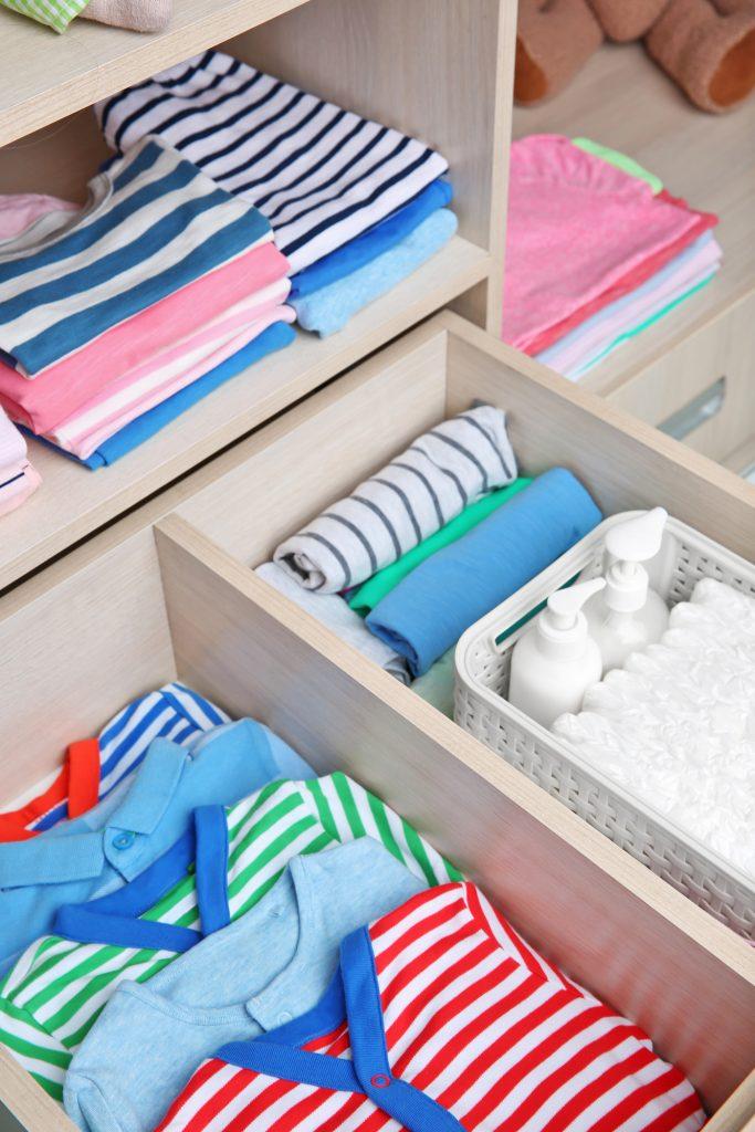 organized nursery drawers